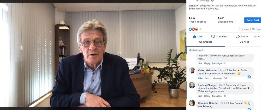 Sprechstunde im Internet: Bürgermeister Gerhard Obernberger aus Kremsmünster hat auch in Zeiten des Social Distancing ein offenes Ohr für die Bürgerinnen und Bürger. (Bild: Marktgemeinde Kremsmünster)